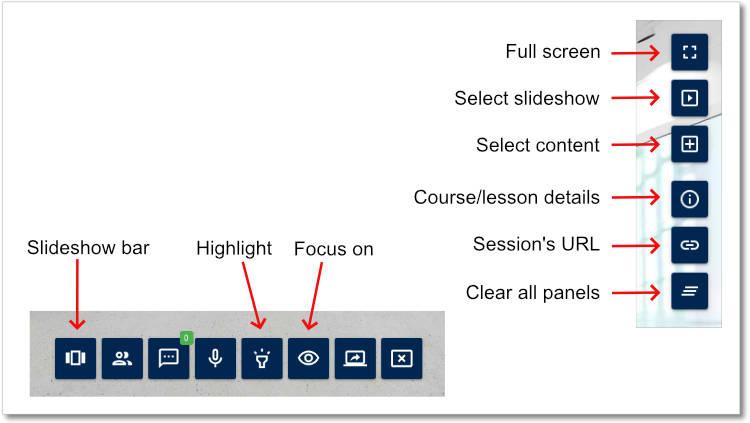 Virtual Classroom - Trainer Navigation Bar