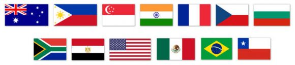Flags of countries tested