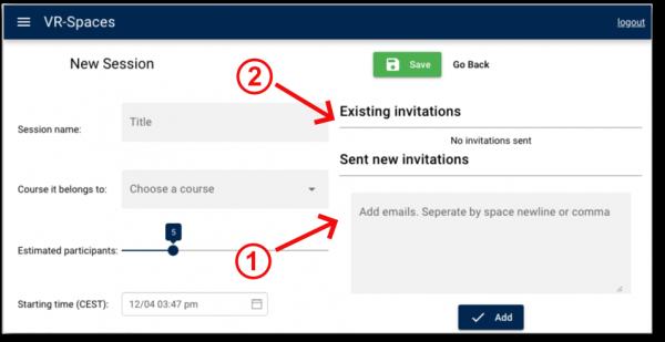 Virtual Classroom - Add invitations