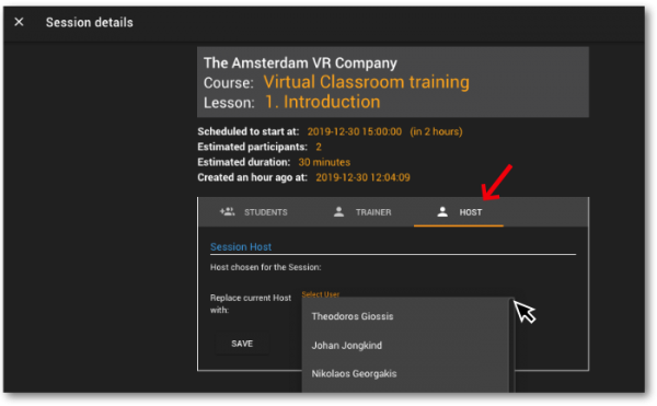 Virtual Classroom - Adding host
