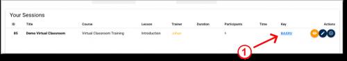 Virtual Classroom - Copy URL of training session